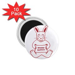 Cute Bunny With Banner Drawing 1 75  Button Magnet (10 Pack) by dflcprints
