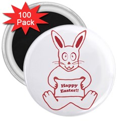 Cute Bunny With Banner Drawing 3  Button Magnet (100 Pack) by dflcprints