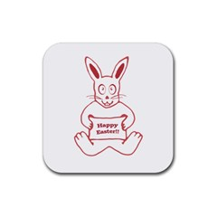 Cute Bunny With Banner Drawing Drink Coasters 4 Pack (square) by dflcprints