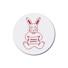 Cute Bunny With Banner Drawing Drink Coaster (round) by dflcprints