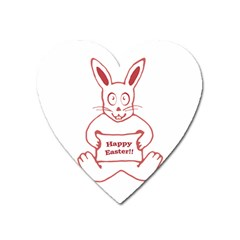 Cute Bunny With Banner Drawing Magnet (heart) by dflcprints