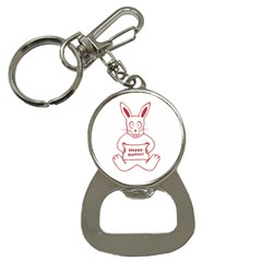 Cute Bunny With Banner Drawing Bottle Opener Key Chain by dflcprints