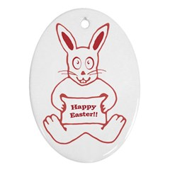 Cute Bunny With Banner Drawing Oval Ornament (two Sides) by dflcprints