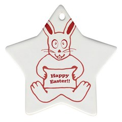 Cute Bunny With Banner Drawing Star Ornament (two Sides) by dflcprints