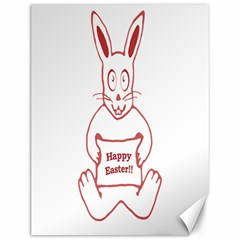 Cute Bunny With Banner Drawing Canvas 12  X 16  (unframed) by dflcprints