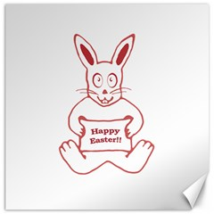 Cute Bunny With Banner Drawing Canvas 16  X 16  (unframed) by dflcprints
