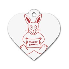 Cute Bunny With Banner Drawing Dog Tag Heart (one Sided)  by dflcprints