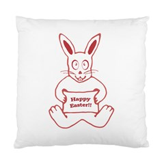 Cute Bunny With Banner Drawing Cushion Case (single Sided)  by dflcprints