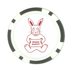 Cute Bunny With Banner Drawing Poker Chip (10 Pack) by dflcprints