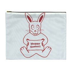 Cute Bunny With Banner Drawing Cosmetic Bag (xl) by dflcprints