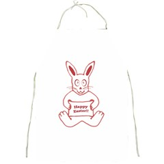 Cute Bunny With Banner Drawing Apron by dflcprints
