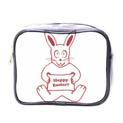Cute Bunny With Banner Drawing Mini Travel Toiletry Bag (one Side) by dflcprints
