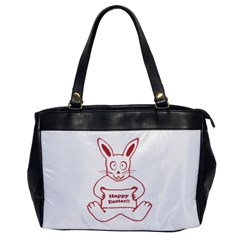 Cute Bunny With Banner Drawing Oversize Office Handbag (one Side) by dflcprints