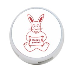Cute Bunny With Banner Drawing 4 Port Usb Hub (one Side) by dflcprints