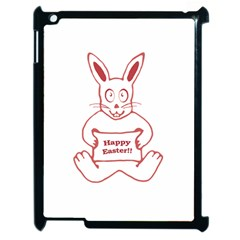 Cute Bunny With Banner Drawing Apple Ipad 2 Case (black) by dflcprints