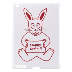 Cute Bunny With Banner Drawing Apple Ipad 3/4 Hardshell Case (compatible With Smart Cover) by dflcprints