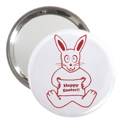 Cute Bunny With Banner Drawing 3  Handbag Mirror by dflcprints