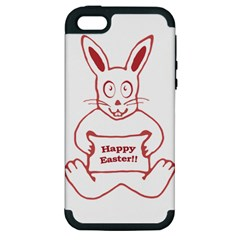 Cute Bunny With Banner Drawing Apple Iphone 5 Hardshell Case (pc+silicone) by dflcprints