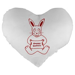 Cute Bunny With Banner Drawing 19  Premium Heart Shape Cushion by dflcprints