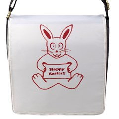 Cute Bunny With Banner Drawing Flap Closure Messenger Bag (small) by dflcprints