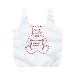 Cute Bunny With Banner Drawing Reusable Bag (m) by dflcprints