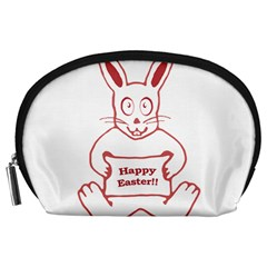 Cute Bunny With Banner Drawing Accessory Pouch (large) by dflcprints