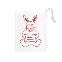 Cute Bunny With Banner Drawing Drawstring Pouch (medium) by dflcprints
