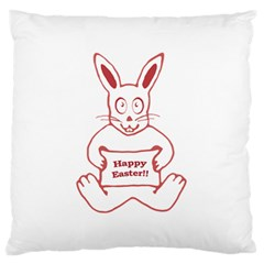 Cute Bunny With Banner Drawing Large Flano Cushion Case (two Sides)