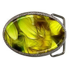 Abstract Yellow Daffodils Belt Buckle (oval) by bloomingvinedesign