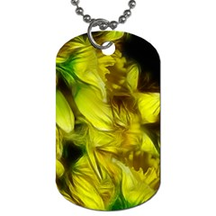 Abstract Yellow Daffodils Dog Tag (one Sided) by bloomingvinedesign