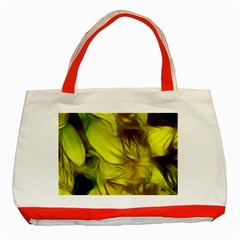 Abstract Yellow Daffodils Classic Tote Bag (red) by bloomingvinedesign
