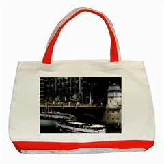 Adams Street Bridge Classic Tote Bag (red) by bloomingvinedesign