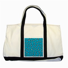 Blue Distorted Weave Two Tone Tote Bag by LalyLauraFLM