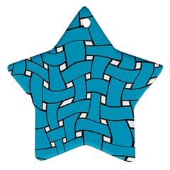 Blue Distorted Weave Star Ornament (two Sides) by LalyLauraFLM