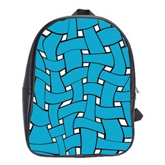 Blue distorted weave School Bag (Large) by LalyLauraFLM