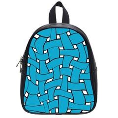 Blue Distorted Weave School Bag (small) by LalyLauraFLM