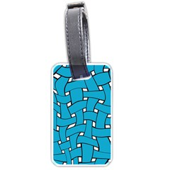 Blue Distorted Weave Luggage Tag (two Sides) by LalyLauraFLM