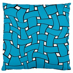 Blue Distorted Weave Large Cushion Case (two Sides) by LalyLauraFLM