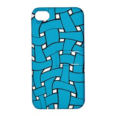 Blue Distorted Weave Apple Iphone 4/4s Hardshell Case With Stand by LalyLauraFLM