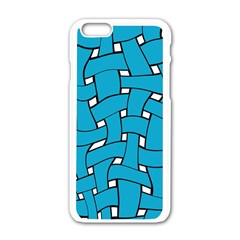 Blue Distorted Weave Apple Iphone 6 White Enamel Case by LalyLauraFLM