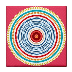 Colorful Round Kaleidoscope Tile Coaster by LalyLauraFLM