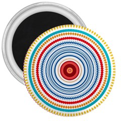 Colorful Round Kaleidoscope 3  Magnet by LalyLauraFLM