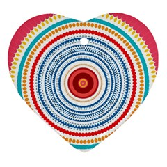 Colorful Round Kaleidoscope Ornament (heart) by LalyLauraFLM