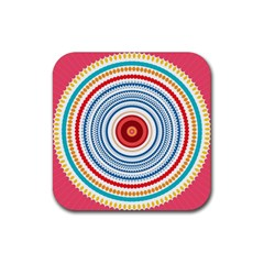 Colorful Round Kaleidoscope Rubber Square Coaster (4 Pack) by LalyLauraFLM