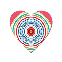 Colorful Round Kaleidoscope Magnet (heart) by LalyLauraFLM