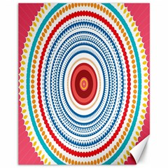 Colorful Round Kaleidoscope Canvas 11  X 14  by LalyLauraFLM