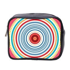 Colorful Round Kaleidoscope Mini Toiletries Bag (two Sides) by LalyLauraFLM
