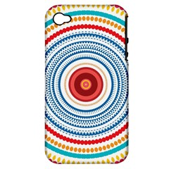 Colorful Round Kaleidoscope Apple Iphone 4/4s Hardshell Case (pc+silicone) by LalyLauraFLM