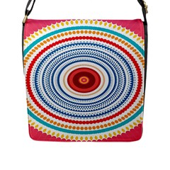 Colorful Round Kaleidoscope Flap Closure Messenger Bag (large) by LalyLauraFLM
