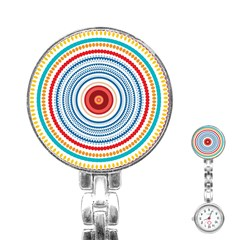 Colorful Round Kaleidoscope Stainless Steel Nurses Watch by LalyLauraFLM
